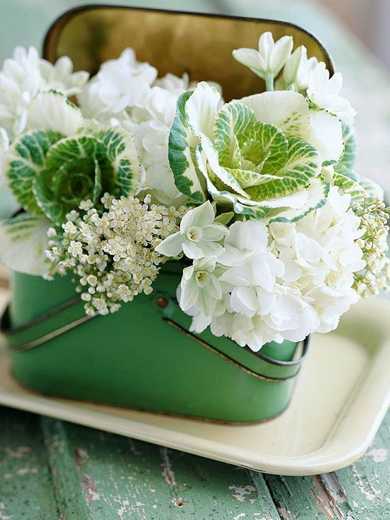 white blooms & variegated kale in a vintage lunchbox