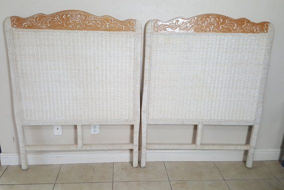 Pier 1 Wicker Pair Twin Size Headboards Jamaica One Imports Rattan