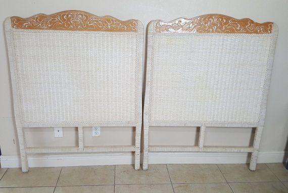 Pier 1 Wicker Pair Twin Size Headboards Jamaica One Imports Rattan