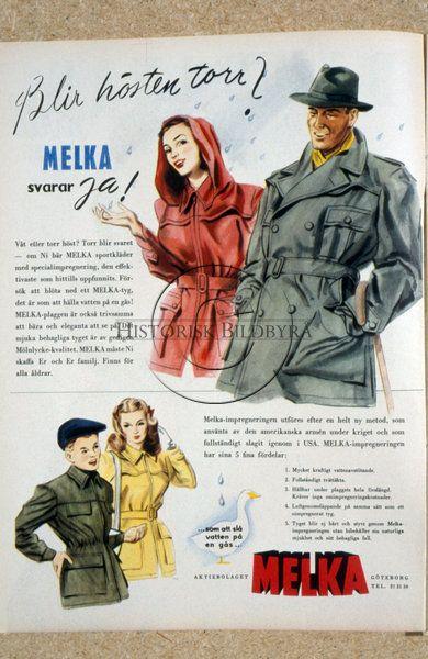 Melka kläder. Annons i Damernas Värld nr 40, 1947.