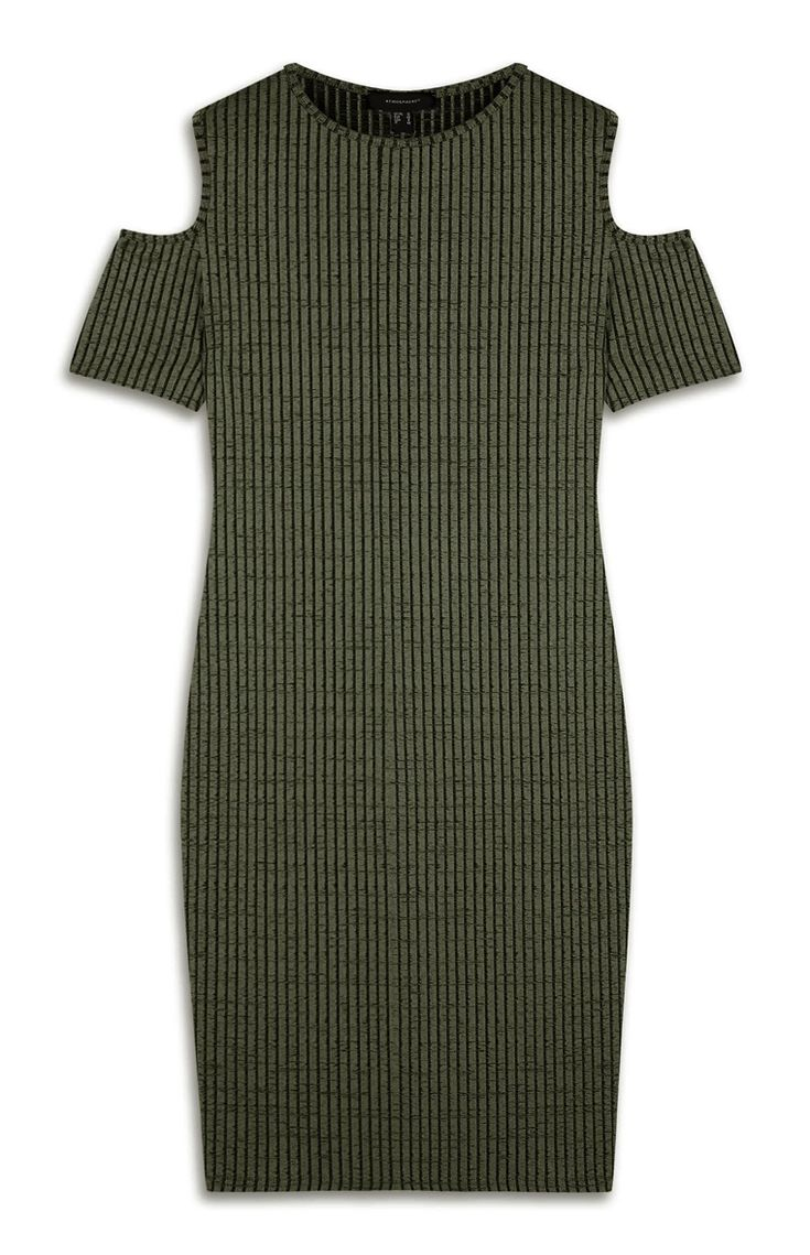 Primark - Khaki Stripe Cold Shoulder Bodycon Dress
