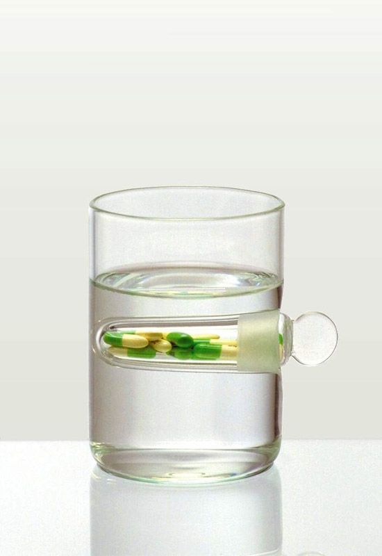 Vice/Virtue Glasses. Dispensary, 1997. Blown glass with Prozac capsules, 4 x 2 7/8 x 2 7/8 in. (10.2 x 7.3 x 7.3 cm). Henry Urbach Architecture, New York. // Diller Scofidio + Renfro