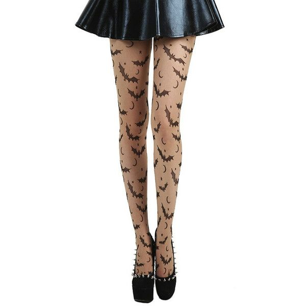 Bat Star Moon Gothic Halloween Tights ($12) ❤ liked on Polyvore featuring costumes, goth costume, goth halloween costumes, gothic costumes, gothic lolita costume and white halloween costumes