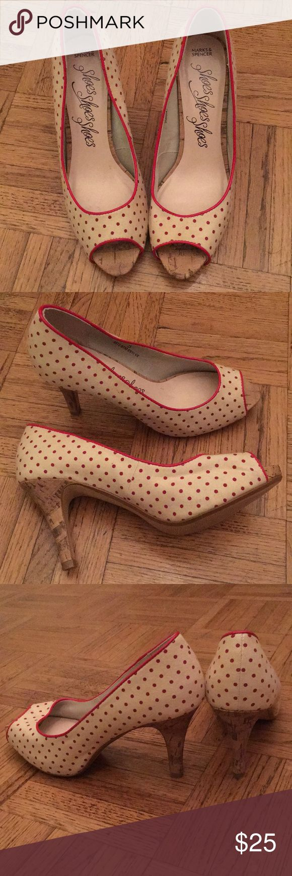 Polka dot peep toe heels Polka dot peep toe heels, very comfortable. Labeled as 5 but fits 7 perfectly Marks & Spencer Shoes Heels