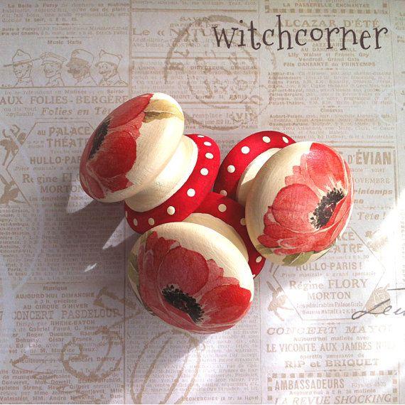 Wooden door knob made with Red Poppy design  Extra by witchcorner, £5.00