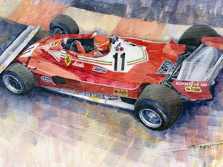 Ferrari 312 T2 Niki Lauda 1977 Monaco GP, Formula, Aquarel - Automotive art
