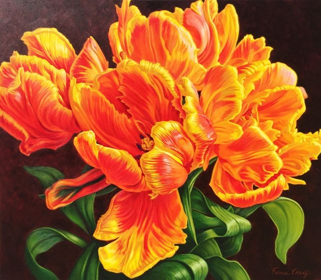 """Tulipomania - Orange Parrots"" 92cm x 107cm. For more information please contact REDSEA Gallery on (07) 3162 2230 © Fiona Craig"