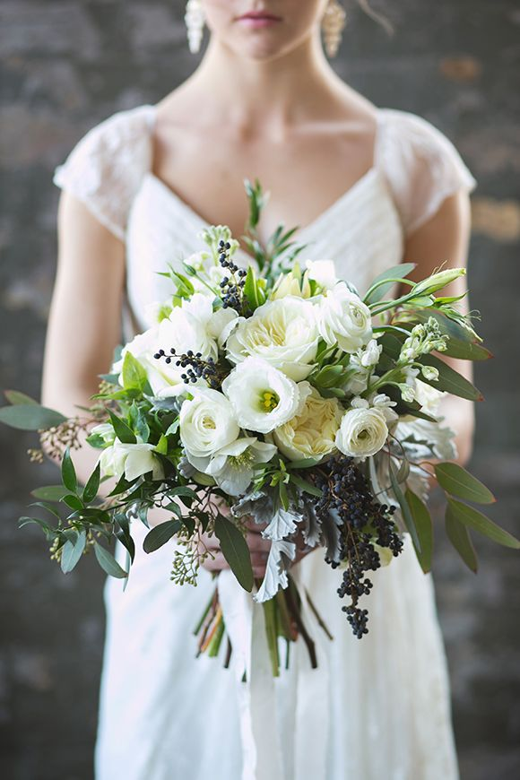 Bridal Wild Bouquet in White and Green | Pear Wedding Inspiration in a Warehouse Setting