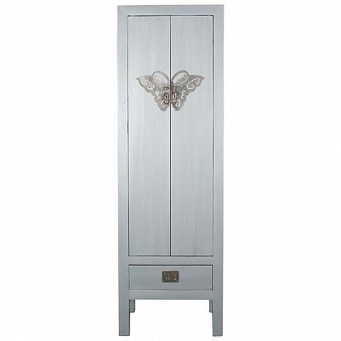 Painted Chinese style wardrobe with silver butterfly clasps - Trade Secret