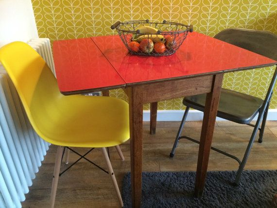 this stunning gorgeous formica drop leaf table in great condition especially for its drop leaf tablemid century