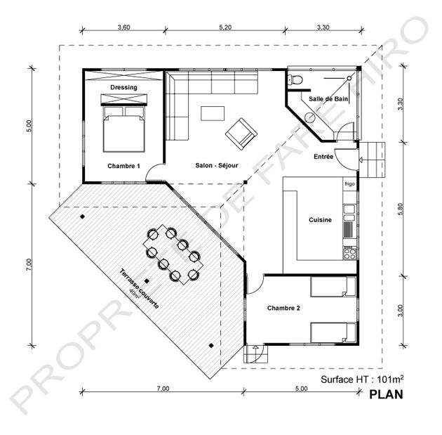 Maison moderne 100m2 maison terrasse u003d surface totale for Plan maison contemporaine 100m2