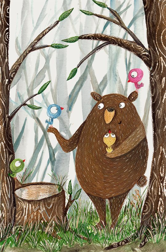 olishka | Illustrations by Aleksandra Szmidtillustration, children illustration, kids illustration, gouache, painting, art, bear, forest, bird