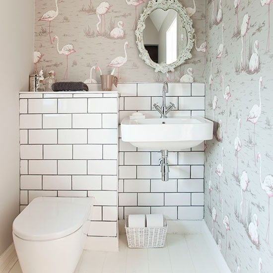 Decorative bathroom with wallpaper