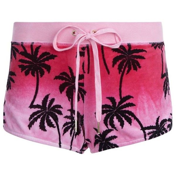 Juicy Couture Palm Tree Velour Shorts (€140) ❤ liked on Polyvore