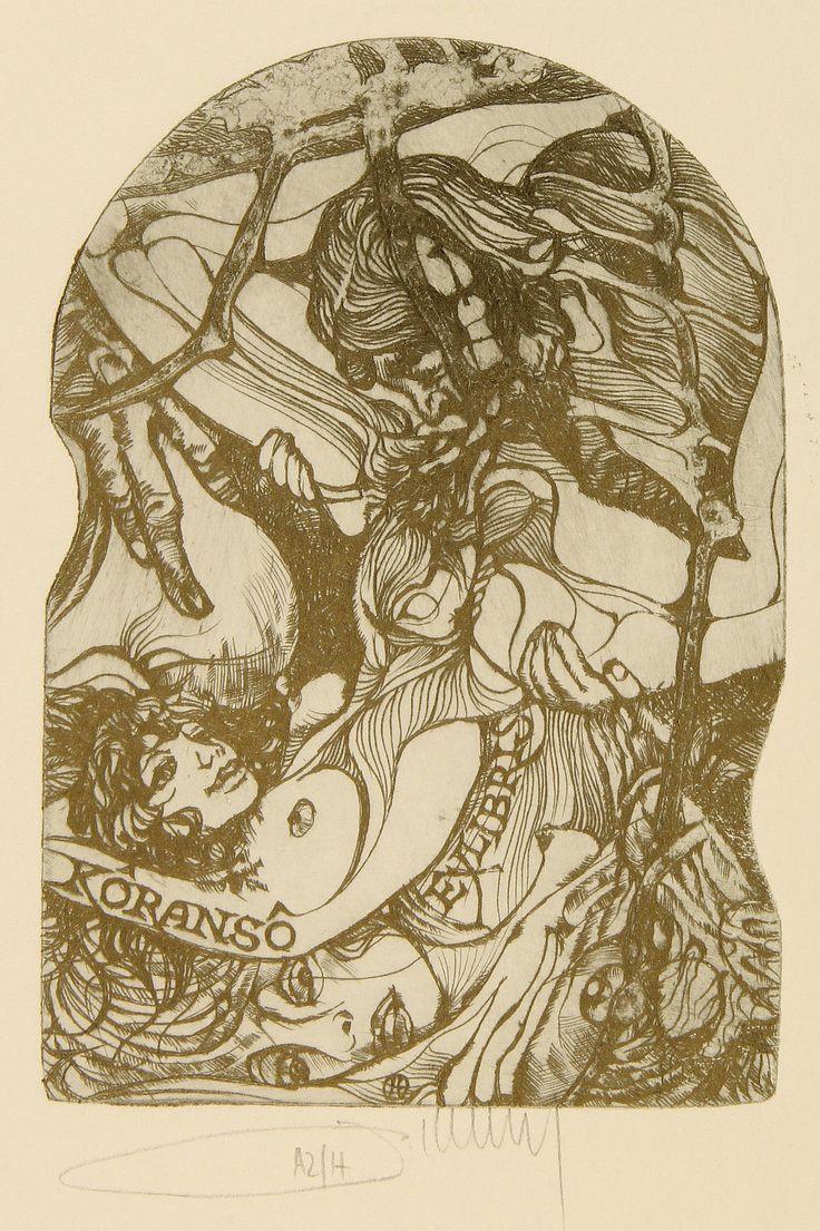 Pavel Hlavaty: Liebesspiele. Erotisches Exlibris für Koranso106x72_C3