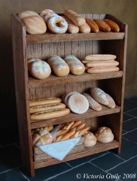 Rustic Bakery Shelves - 12th Scale Dollhouse Miniature Food or Bakery Item