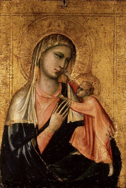 Workshop of Giotto di Bondone (c.1267-1337) — Madonna and Child,   1300's : The Ashmolean Museum of Art and rchaeology, Oxford.  England (431×640)
