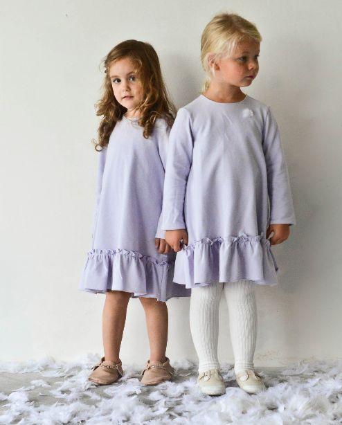 BOW dress in dove/light blue - G i r l s