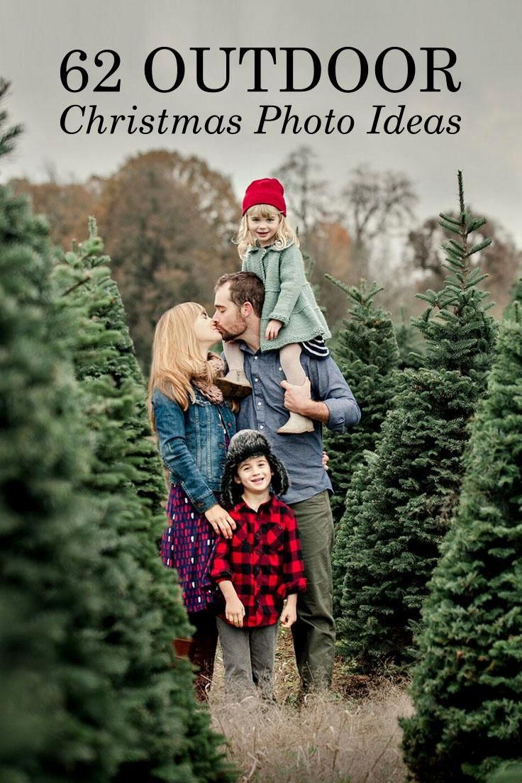 To help you plan this year's masterpiece holiday card, we've collected 62 inspirational images of outdoor photo poses, backdrops and props for magnificent Christmas card photos.