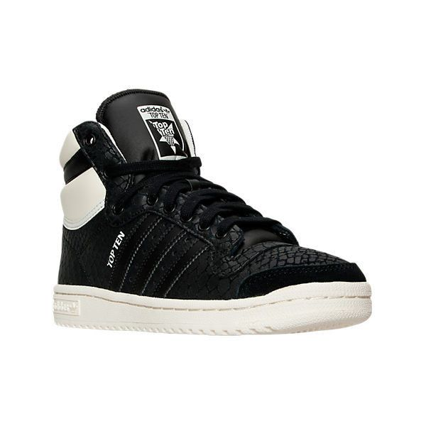 Adidas Women's Top Ten Hi Casual Shoes ($60) ❤ liked on Polyvore featuring shoes, sneakers, black, adidas trainers, black high-top sneakers, leather sneakers, black high tops and adidas shoes
