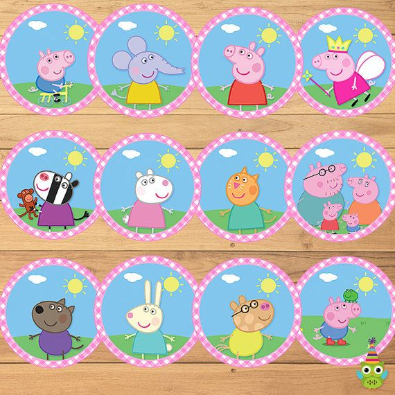12 Peppa Pig Cupcake Toppers Pink Plaid -- Peppa Pig Stickers -- Peppa Pig Party Favors -- Peppa Pig Printables