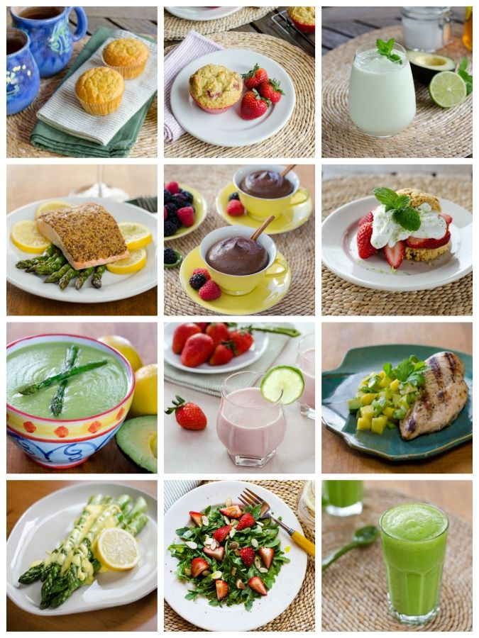 Spring recipes using fresh seasonal fruits and vegetables - mango, avocado, asparagus, strawberry, pineapple and arugula. - CookEatPaleo