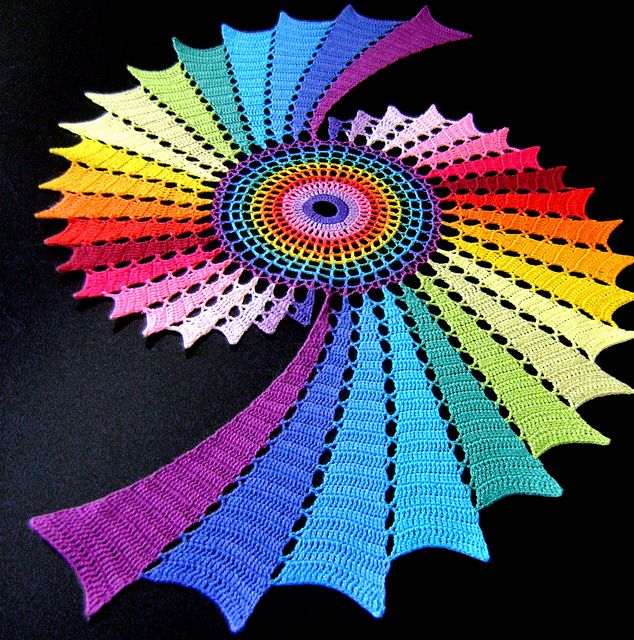 """Colorful & Gorgeous version of  """"Fractal Doily Table Runner""""!"""