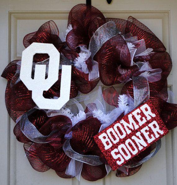 OU Boomer Sooner Mesh Wreath