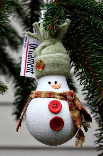adorno para el árbol de Navidad reciclando una bombilla