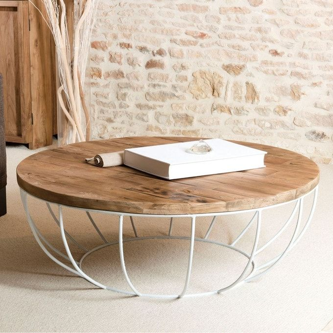 Table Basse Ronde 100cm Teck Recycle Et Metal Blanc Style Contemporain Industriel Swing Teck Fonce Pier Im Table Basse Ronde Table Basse Ronde Bois Table Basse