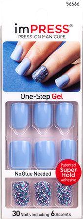imPRESS Press-on Manicure Short Gel Glitter Accent Nails - Kiss & Tell