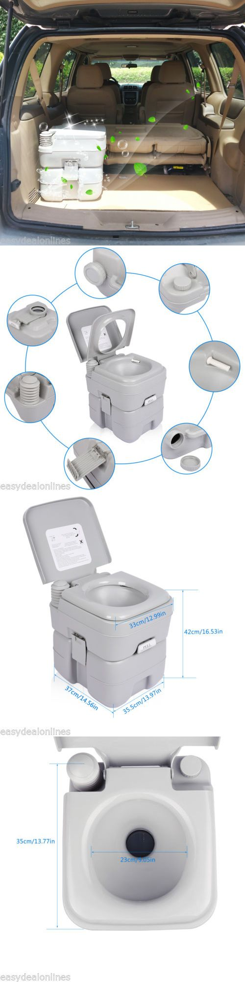 Portable Toilets and Accessories 181397: 20L 5 Gallon Portable Flush Porta Potti Camping Travel Toilet Indoor Outdoor Wc -> BUY IT NOW ONLY: $56.99 on eBay!