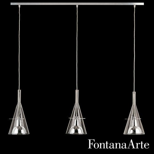 "The FontanaArte Flute 3 Pendant Light is a suspension lamp provided with three diffusers mounted on a raceway having a 19.6"" distance between centers. $2,358"