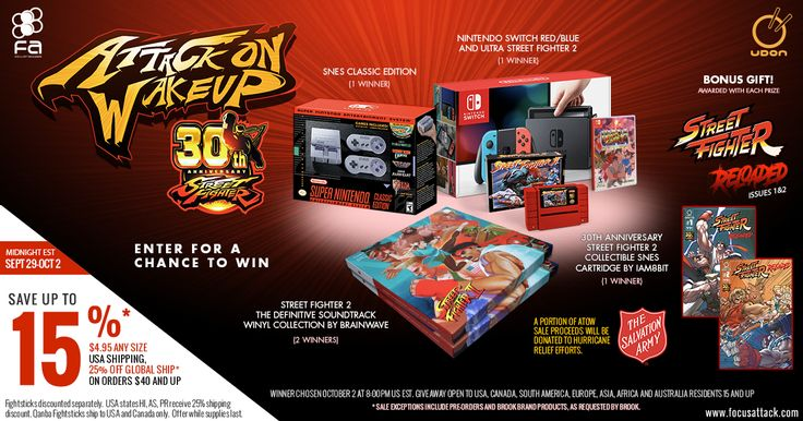 Enter for a chance to win a Nintendo Switch with a copy of USF2, SNES Classic, SF2 SNES Collector's cart, and SF2 Definitive Soundtrack Vinyl! Bonus SF Reloaded issues from Udon!