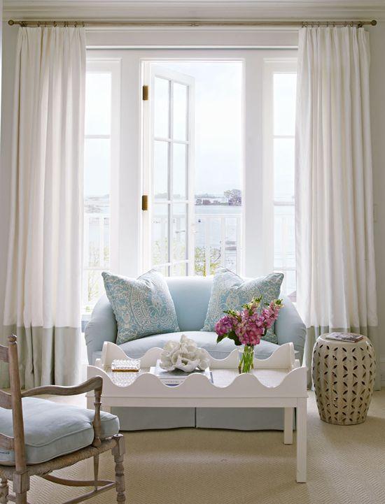 Designer Louise Brooks' Elegant Home on Long Island Sound - Traditional Home®. Bedroom sitting area