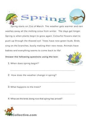 spring worksheet. reading comprehension