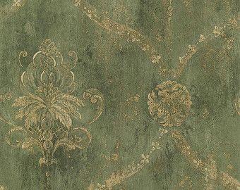 Gold Gitter und floralen Damast Distressed grün, antik, alt, abgenutzte, alte, Victorian, Faux Textur - Wallpaper von The Yard - CH22568 so