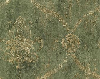 Wallpaper Antiqued Blue Gold Delia Damask with by Handcrafted360