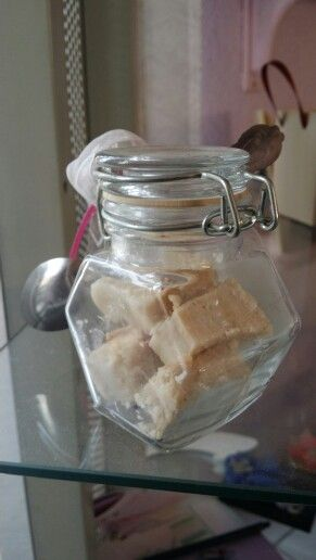 Cute Wedding Gifts... Glass holder containing home made fudge, a spoon and a thank you note. @ R40 each. Www.lamori.co.za