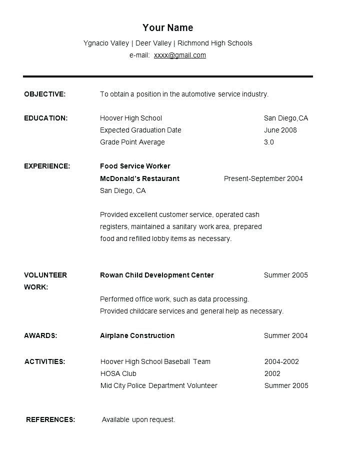Resume Template No Work Experience Hotwiresite