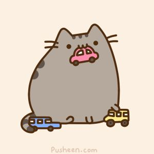 Pusheen Giant Cat Plays with Cars