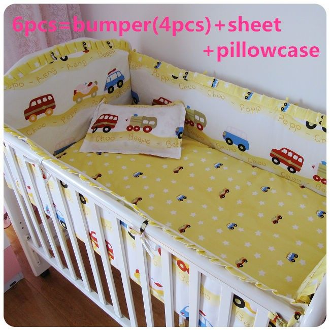 Discount! 6/7pcs Baby Bedding Set Cartoon Crib Bedding Set for Girls Detachable ,120*60/120*70cm