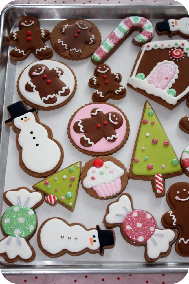 decorated Christmas cookies.