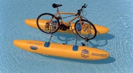 Italian engineering company SBK Engineering has produced an innovative backpack which converts a bicycle into a water-bike within 10 minutes. Pedal powered prop, and pedal powered pump that inflates the pontoons. This is brilliant. I so want one! :-)