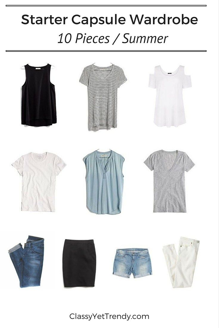Starter Capsule Wardrobe for Summer (10 Pieces): Features a black tank, black stripe tee, cold shoulder top, white tshirt, chambray popover shirt, gray tee, blue jeans, black skirt, denim shorts & white jeans.
