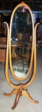 Antique oak oval cheval mirror