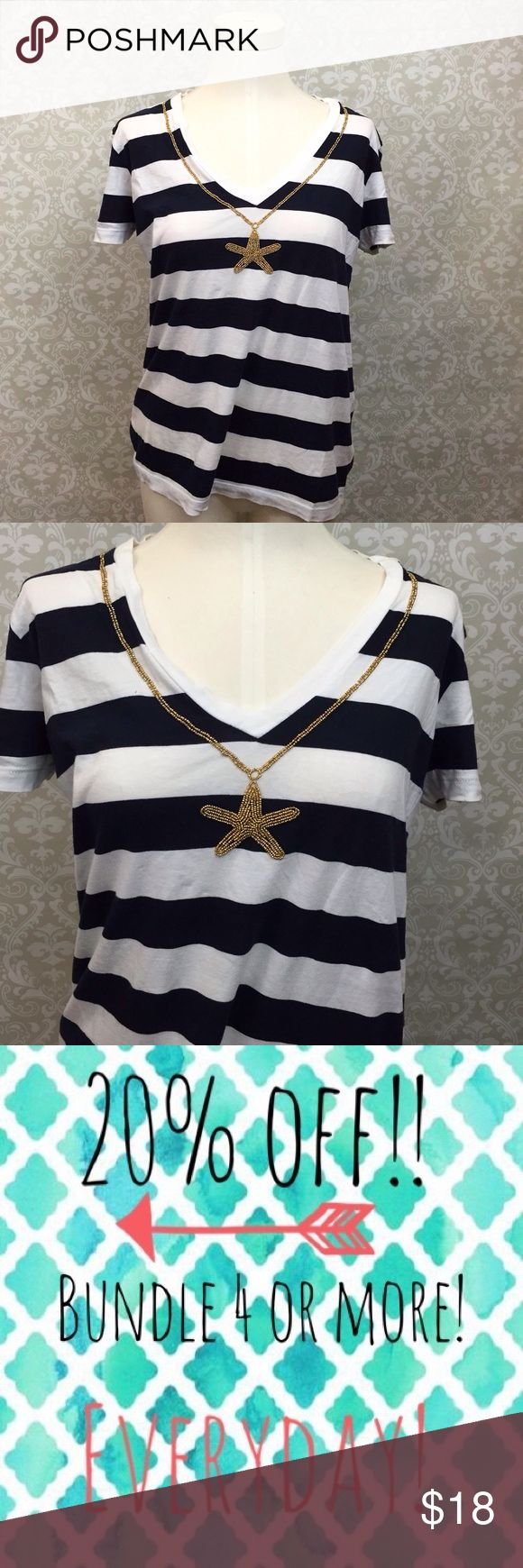 🎁Joe Fresh Nautical Striped Navy Starfish Tee Joe Fresh Large Womens Nautical Striped Navy Starfish Tee  This has been gently worn with no major flaws.  There may be slight signs of wash wear. Please refer to photos for more details. Joe Fresh Tops Tees - Short Sleeve