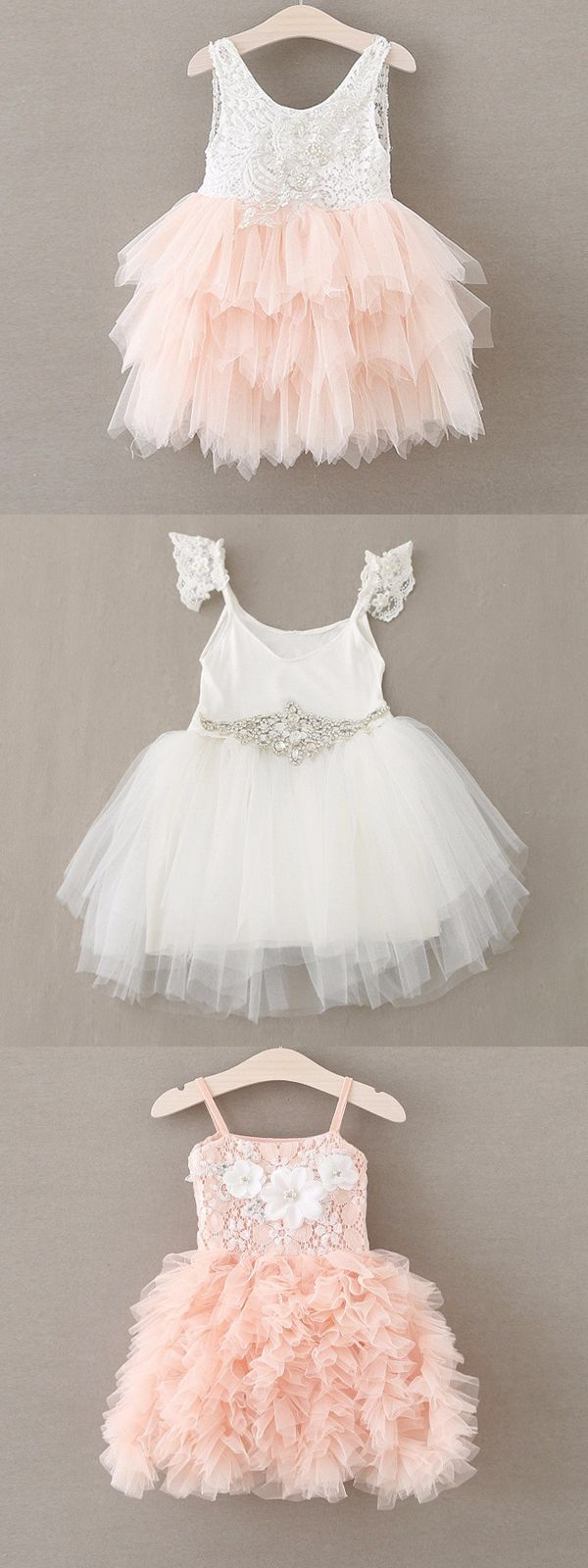 2 Flower Girl Lace Diamond Chiffon Tutu Dress
