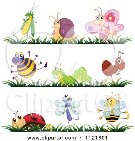 cartoon bug tattoos | Cartoon Of Cute Bugs And Grass Borders 1 - Royalty Free Vector Clipart