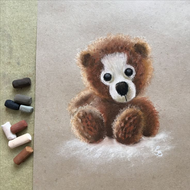 Soft pastel drawing painting of artist teddy bear by Eli Bichita